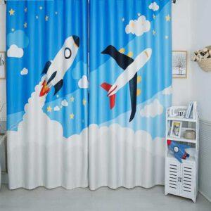 raket / vliegtuig 3D gordijnen