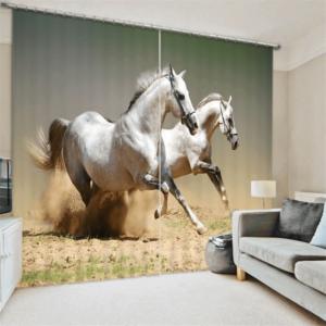 Witte Paarden 3D gordijnen