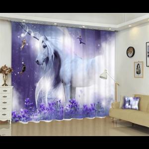 Vliegende witte paard 3D gordijn
