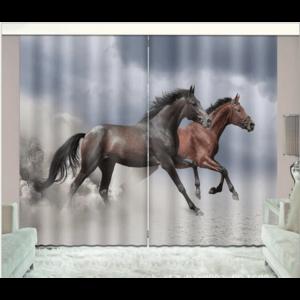 Paarden zwart/bruin 3D gordijnen