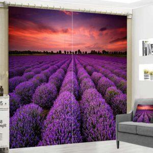 Lavendel veld gordijnen