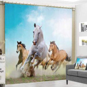 Paarden in Galop gordijn