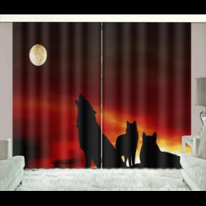 Nacht wolven zonlicht 3D gordijnen